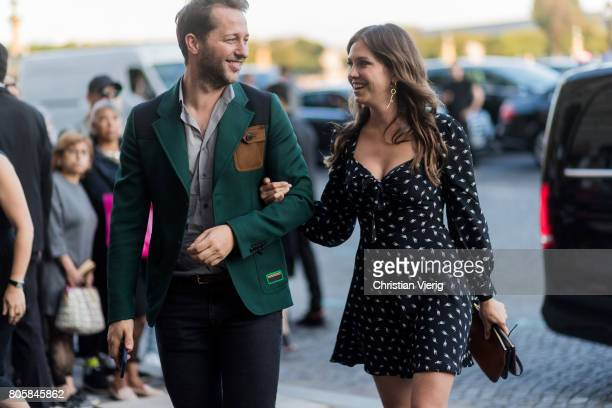 Derek Blasberg and Dasha Zhukova outside Miu Miu Cruise Collection during Paris Fashion Week Haute Couture Fall/Winter 20172018 Day One on July 2...