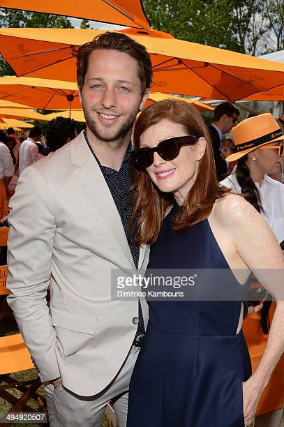 Derek Blasberg and Julianne Moore attend the seventh annual Veuve Clicquot Polo Classic in Liberty State Park on May 31 2014 in Jersey City City