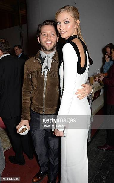 Derek Blasberg and Karlie Kloss attend the Universal Music Brits party at The Soho House PopUp on February 25 2015 in London England