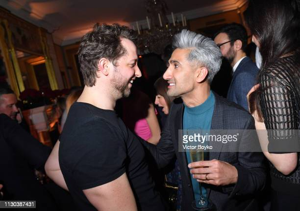 Derek Blasberg and Tan France attend the Victoria Beckham x YouTube Fashion Beauty After Party at London Fashion Week hosted by Derek Blasberg and...