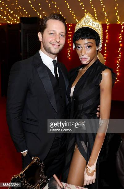 Derek Blasberg and Winnie Harlow attend the gala dinner during #BoFVOICES on December 1 2017 in Oxfordshire England