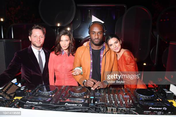 Derek Blasberg Bella Hadid Virgil Abloh and Kendall Jenner attend the YouTube cocktail party during Paris Fashion Week on September 26 2018 in Paris...