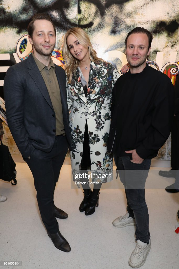 Derek Blasberg, Elisabeth von Thurn und Taxis and Nicholas Kirkwood attend Murakami & Abloh: Future History at Gagosian Gallery Davies Street on February 20, 2018 in London, England.
