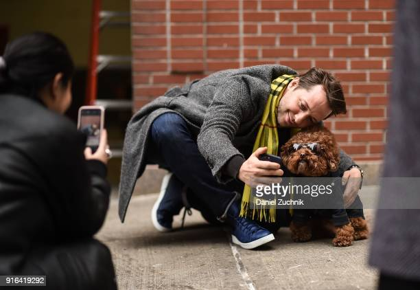 Derek Blasberg is seen outside the Brock Collection show during New York Fashion Week Women's A/W 2018 on February 9 2018 in New York City