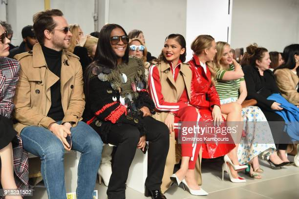 Derek Blasberg Law Roach Zendaya Blake Lively and Emily Blunt watch Bella Hadid walk the runway during the Michael Kors Collection Fall 2018 Runway...