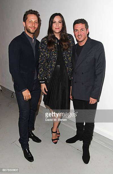 Derek Blasberg Liv Tyler and Dave Gardner attend as Belstaff and Liv Tyler launch the Spring Summer 17 collection during London Fashion Week at...