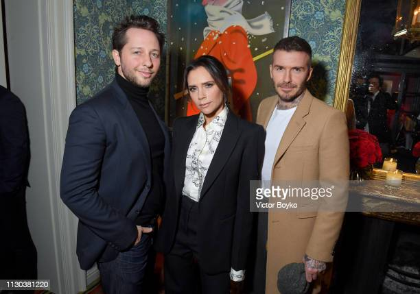 Derek Blasberg Victoria Beckham and David Beckham attend the Victoria Beckham x YouTube Fashion Beauty After Party at London Fashion Week hosted by...
