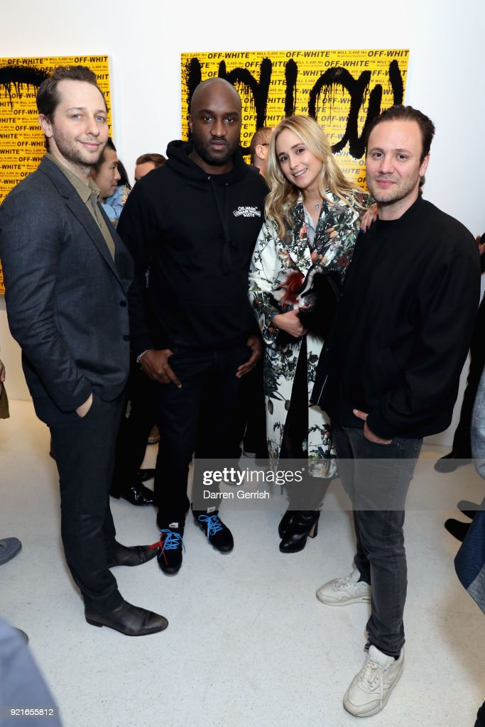 Derek Blasberg, Virgil Abloh, Elisabeth von Thurn und Taxis and Nicholas Kirkwood attend Murakami & Abloh: Future History at Gagosian Gallery Davies Street on February 20, 2018 in London, England.