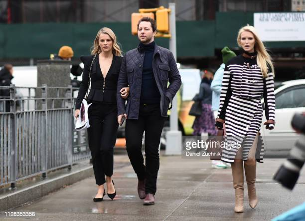Derek Blasberg with guest and Kate Davidson Hudson are seen outside the Brock Collection show during New York Fashion Week Fall/Winter 2019 on...