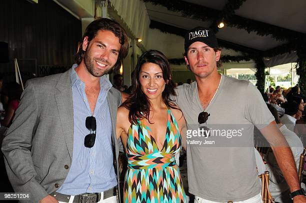 Derek Britt Shamin Abas and polo player Nic Roldan attend Palm Beach International Polo Club on April 4 2010 in Wellington Florida