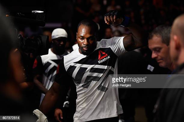 Derek Brunson prepares to enter the Octagon before facing Uriah Hall of Jamaica in their middleweight bout during the UFC Fight Night event at State...