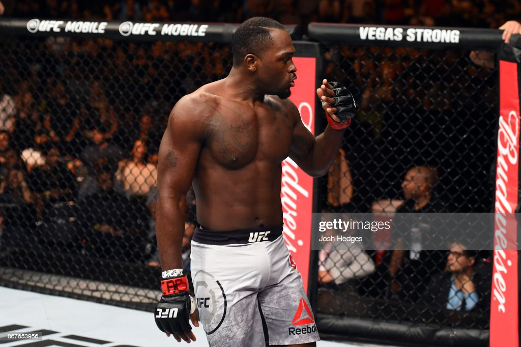 Derek Brunson reacts after defeating Lyoto Machida of Brazil in their middleweight bout during the UFC Fight Night event inside the Ibirapuera Gymnasium on October 28, 2017 in Sao Paulo, Brazil.