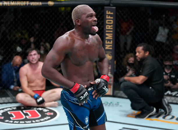 Derek Brunson reacts after his submission victory over Darren Till of England in their middleweight fight during the UFC Fight Night event at UFC...