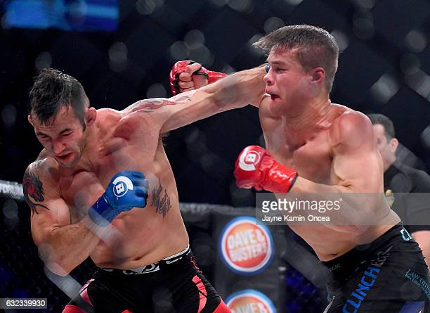 Derek Campos and Derek Anderson in their Bellator catchweight fight at The Forum on January 21, 2017 in Inglewood, Califonia. Derek Campos won by...