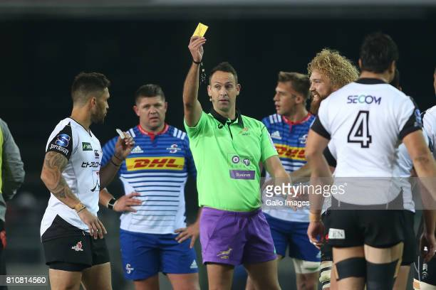 Derek Carpenter of Sunwolves receives a yellow card from referee Quinton Immelman during the Super Rugby match between DHL Stormers and Sunwolves at...