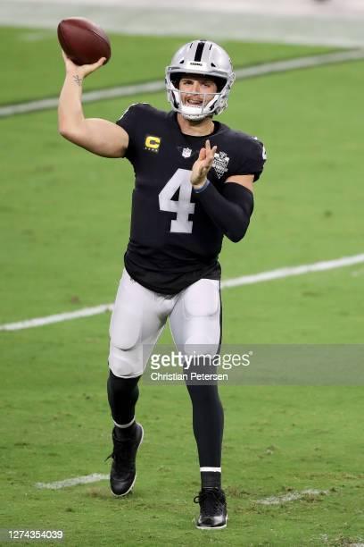 Derek Carr of the Las Vegas Raiders passes against the New Orleans Saints at Allegiant Stadium on September 21 2020 in Las Vegas Nevada