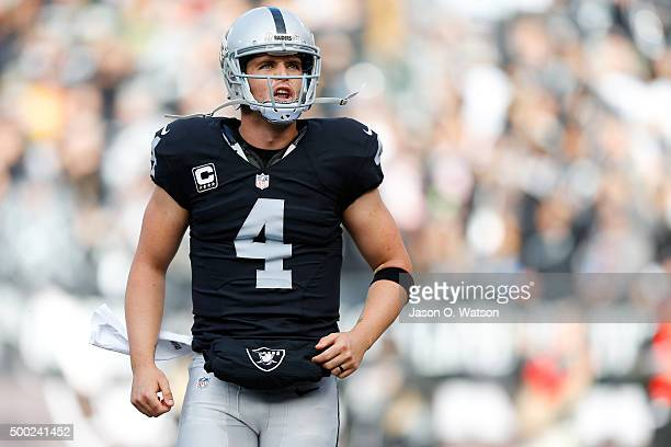 Derek Carr of the Oakland Raiders celebrates after a 25yard touchdown pass to Michael Crabtree during their NFL game against the Kansas City Chiefs...