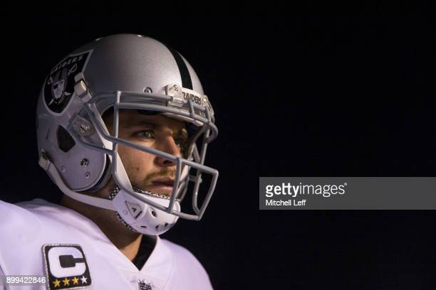 Derek Carr of the Oakland Raiders waits in the tunnel prior to the game against the Philadelphia Eagles at Lincoln Financial Field on December 25...