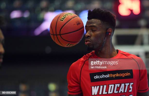 Derek Cooke Jr of the Wildcats warms up before the start of the round three NBL match between the Cairns Taipans and the Perth Wildcats at Cairns...