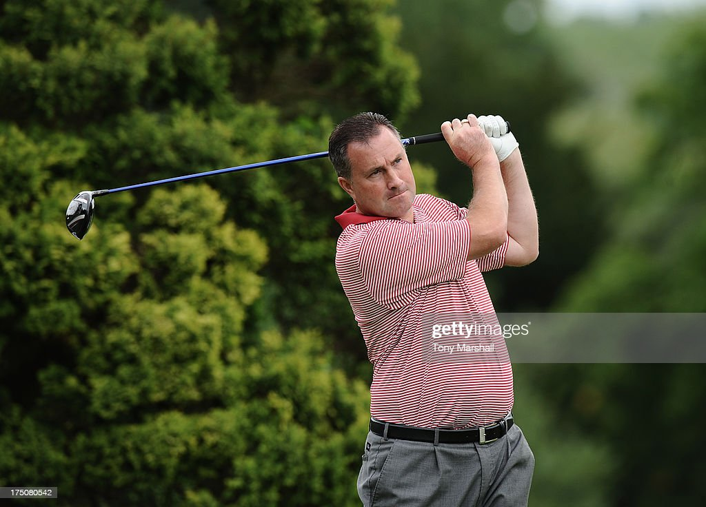 Derek Craik of Frillford Heath Golf Club on the 1st tee during The Golfplan Insurance Pro Captain Challenge - Regional Qualifier at John O'Gaunt Golf Club on July 31, 2013 in Bedford, England.