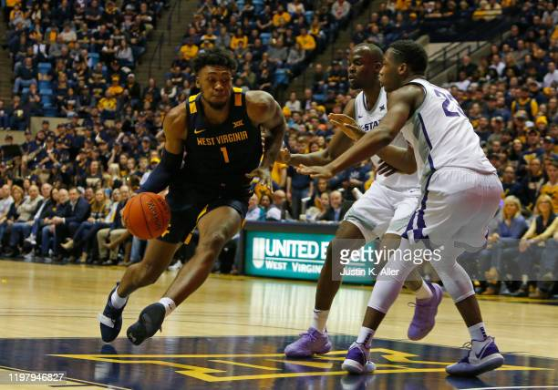 Derek Culver of the West Virginia Mountaineers drives the paint against the Kansas State Wildcats at the WVU Coliseum on February 1 2020 in...