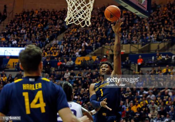 Derek Culver of the West Virginia Mountaineers lays one in against the Kansas State Wildcats at the WVU Coliseum on February 1 2020 in Morgantown...