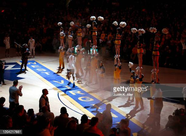 Derek Culver of the West Virginia Mountaineers takes the court against the Oklahoma Sooners at the WVU Coliseum on February 29 2020 in Morgantown...