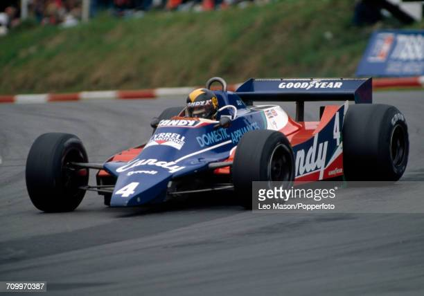 Derek Daly of Ireland enroute to placing fourth, driving a Tyrrell 010 with a Ford V8 engine for the Candy Tyrrell Team, during the British Grand...