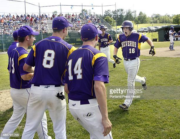 Class A State championship Cheverus vs Lewiston Peter Potthoff of Cheverus is greeted by teammates after crushing a tworun homer in the 6th inning