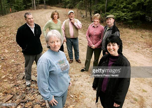 The founders of the Blandings Park Wildlife Sanctuary gather at the future entrance to the park near Route 9 in Biddeford Peggy Ann Ayers front left...