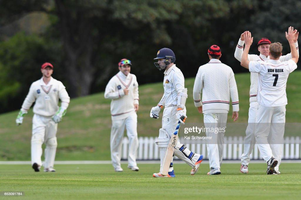 Derek de Boorder of Otago (C) looks dejected after being dismissed by Logan van Beek of Canterbury during the Plunket Shield match between Canterbury and Otago on March 14, 2017 in Christchurch, New Zealand.