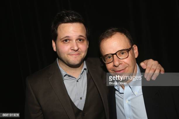 Derek DelGaudio and Rick Moranis pose at the opening night after party for In Of Itself at The Ace Hotel on April 12 2017 in New York City