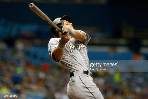 Derek Dietrich of the Marlins at bat during the MLB regular season game between the Miami Marlins and the Tampa Bay Rays on July 22 at Tropicana...