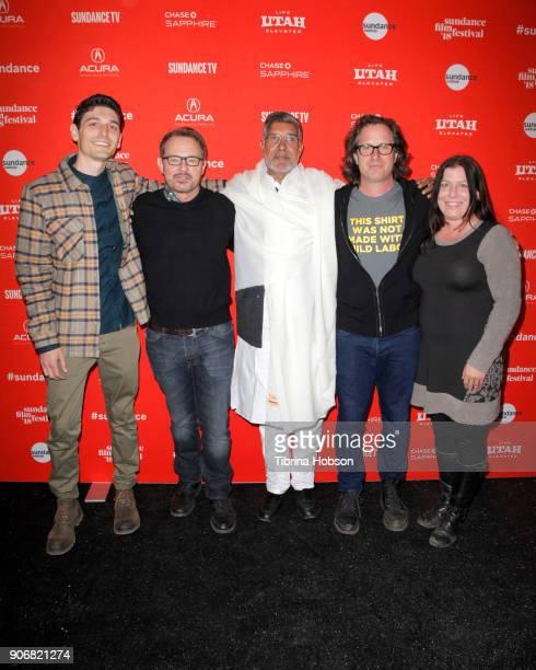 Derek Doneen David Courier Kailash Satyarthi Davis Guggenheim and Elise Pearlstein attend the 'KAILASH' Premiere during the 2018 Sundance Film...
