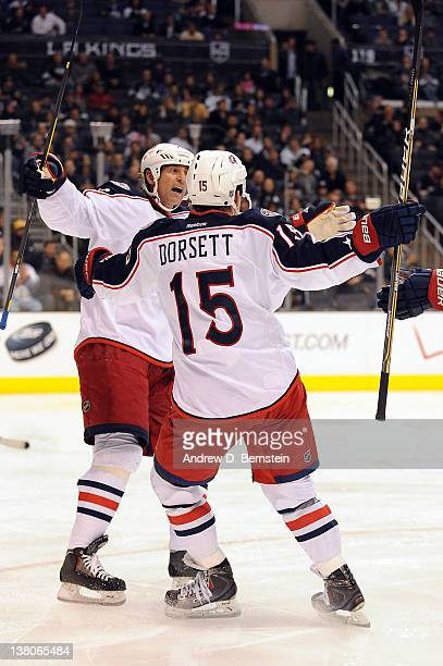 Derek Dorsett of the Columbus Blue Jackets celebrates after scoring a goal against the Los Angeles Kings at Staples Center on February 1 2012 in Los...