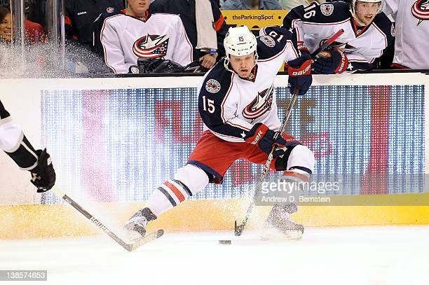 Derek Dorsett of the Columbus Blue Jackets skates with the puck against the Los Angeles Kings at Staples Center on February 1 2012 in Los Angeles...