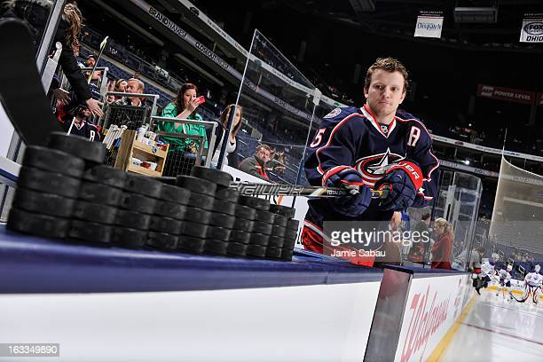 Derek Dorsett of the Columbus Blue Jackets takes the ice for the pregame warm ups before playing the Edmonton Oilers on March 5 2013 at Nationwide...