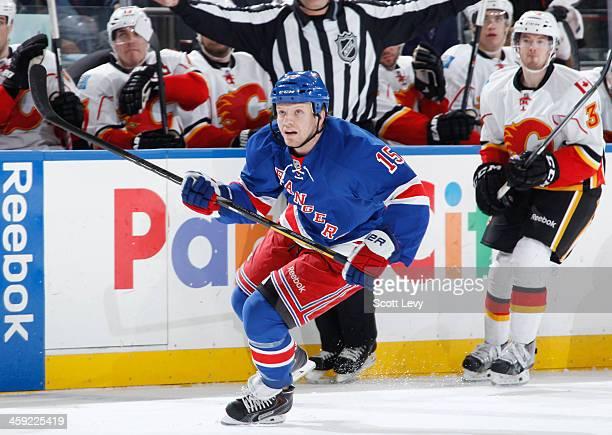 Derek Dorsett of the New York Rangers skates against the Calgary Flames at Madison Square Garden on December 15 2013 in New York City The New York...