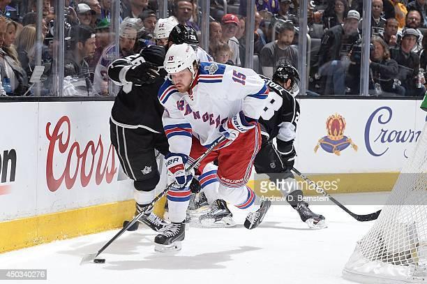 Derek Dorsett of the New York Rangers skates against the Los Angeles Kings in Game Two of the 2014 NHL Stanley Cup Final at Staples Center on June 7...