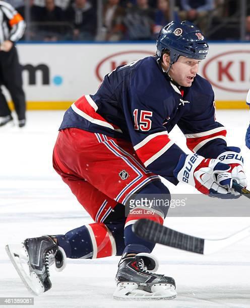 Derek Dorsett of the New York Rangers skates against the Toronto Maple Leafs at Madison Square Garden on December 23 2013 in New York City The New...