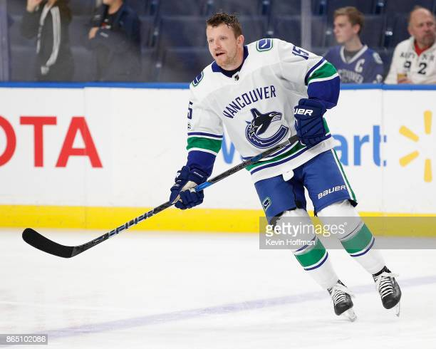 Derek Dorsett of the Vancouver Canucks before the game against the Buffalo Sabres at the KeyBank Center on October 20 2017 in Buffalo New York