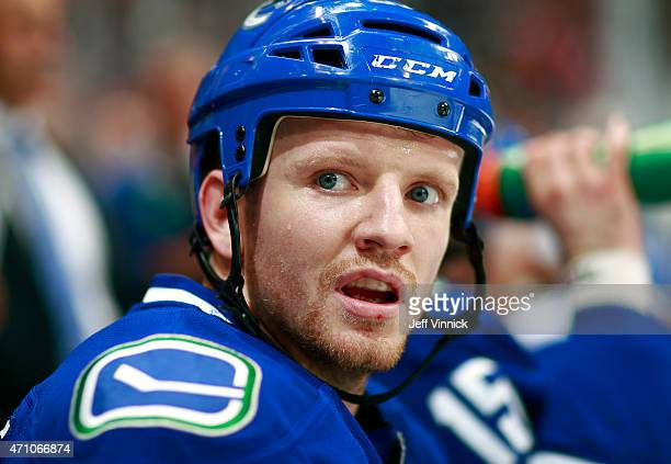 Derek Dorsett of the Vancouver Canucks looks on from the bench during Game Five of the Western Conference Quarterfinals against the Calgary Flames...