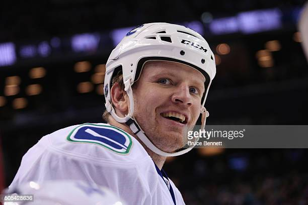 Derek Dorsett of the Vancouver Canucks skates against the New York Islanders at the Barclays Center on January 17 2016 in the Brooklyn borough of New...