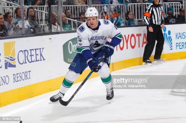Derek Dorsett of the Vancouver Canucks skates against the San Jose Sharks at SAP Center on November 11 2017 in San Jose California