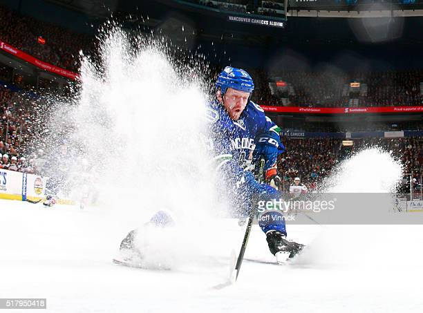 Derek Dorsett of the Vancouver Canucks skates up ice during their NHL game against the Anaheim Ducks at Rogers Arena February 18 2016 in Vancouver...