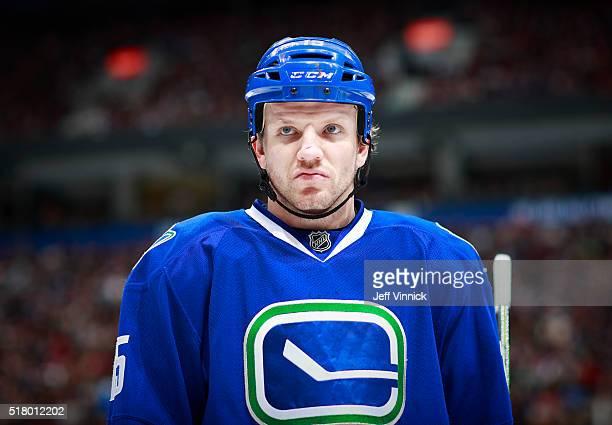 Derek Dorsett of the Vancouver Canucks skates up ice during their NHL game against the Ottawa Senators at Rogers Arena February 25 2016 in Vancouver...