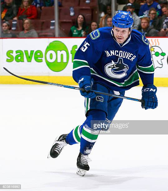 Derek Dorsett of the Vancouver Canucks skates up ice during their NHL game against the Dallas Stars at Rogers Arena November 13 2016 in Vancouver...