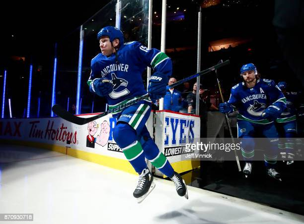 Derek Dorsett of the Vancouver Canucks steps onto the ice during their NHL game against the New Jersey Devils at Rogers Arena November 1 2017 in...