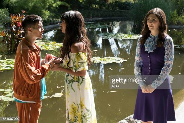 PLACE 'Derek' Episode 208 Pictured Manny Jacinto as Jianyu Jameela Jamil as Tehani D'Arcy Carden as Janet