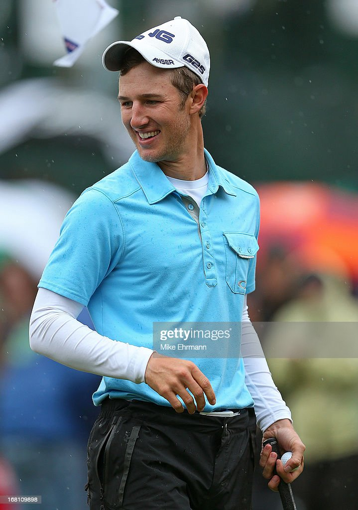 Derek Ernst reacts to winning on the 18th hole during the final round of the Wells Fargo Championship at Quail Hollow Club on May 5, 2013 in Charlotte, North Carolina.